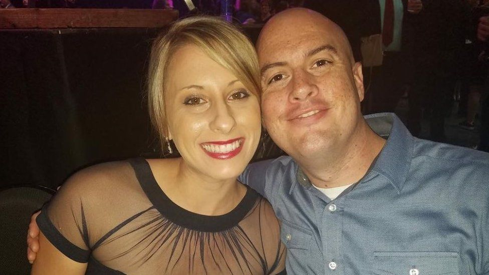 A picture of Katie Hill and her estranged husband Kenny Heslep in 2018