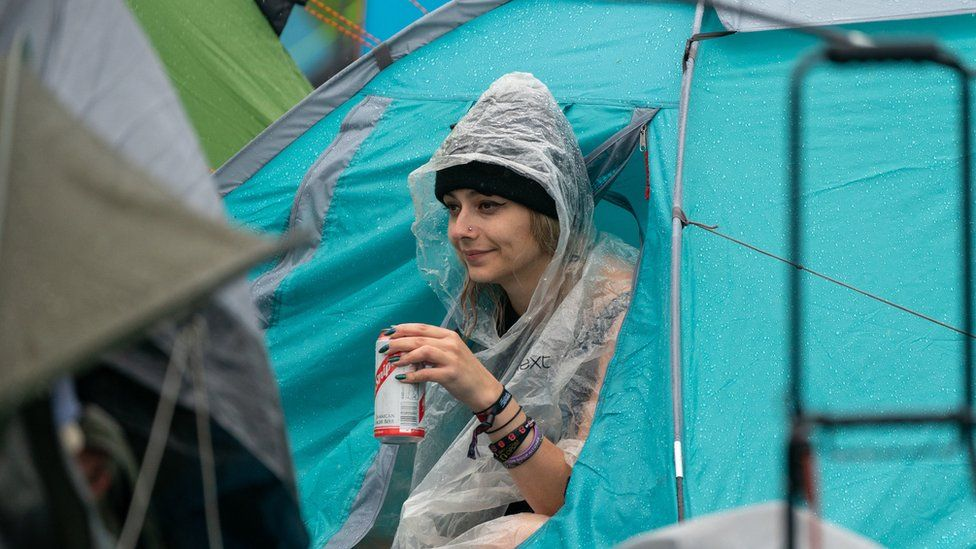 Woman in a tent at Download Festival 2021