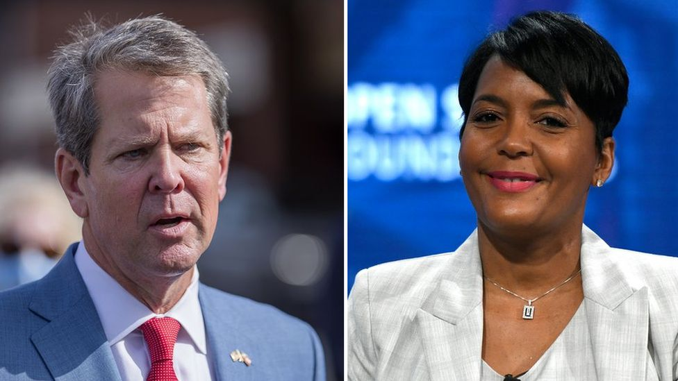 Governor Brian Kemp and Atlanta Mayor Keisha Lance Bottoms