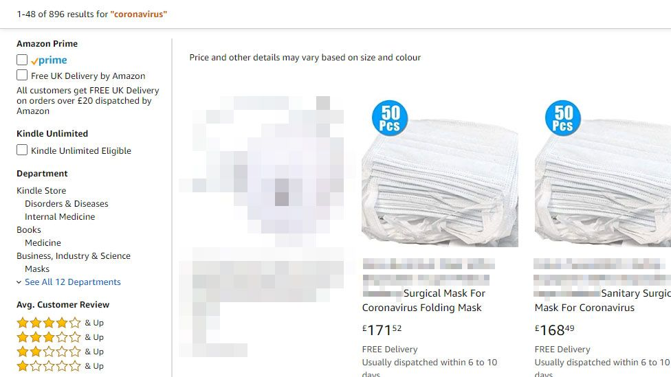 """A screenshot of an Amazon search results page for coronavirus returns results for very expensive surgical masks - not rated for infection - advertised as """"for coronavirus"""""""