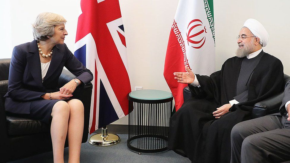 Theresa May and the President of Iran, Hassan Rouhani