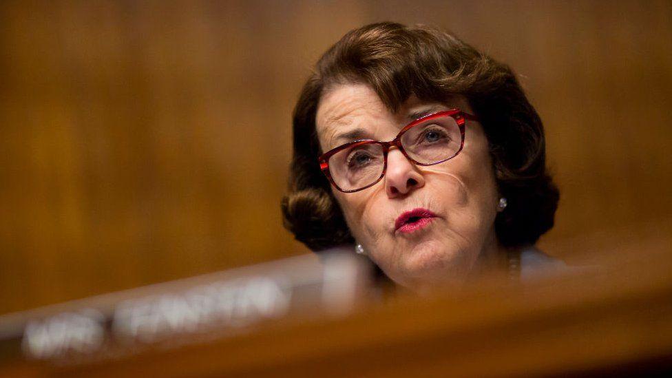 California Senator Diane Feinstein speaks at a Senate Judiciary Committee hearing.