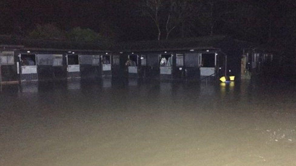 Flooded stables at Paul Nicholls' yard