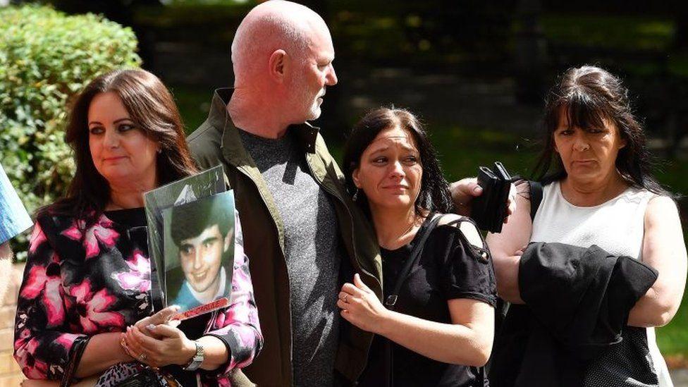 The family of Hillsborough victim Paul Carlile arrive at Warrington Magistrates Court
