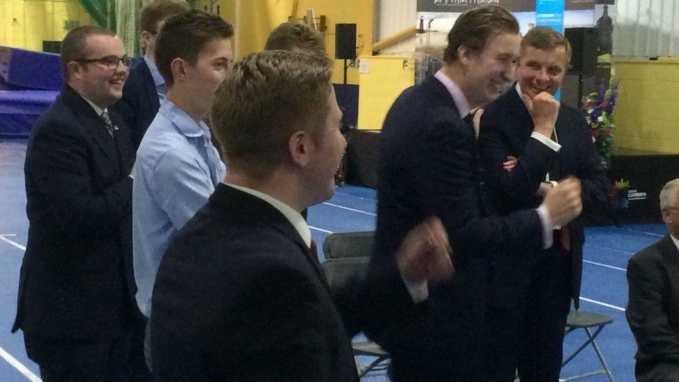 David Jones celebrates in Flintshire after another area votes Leave