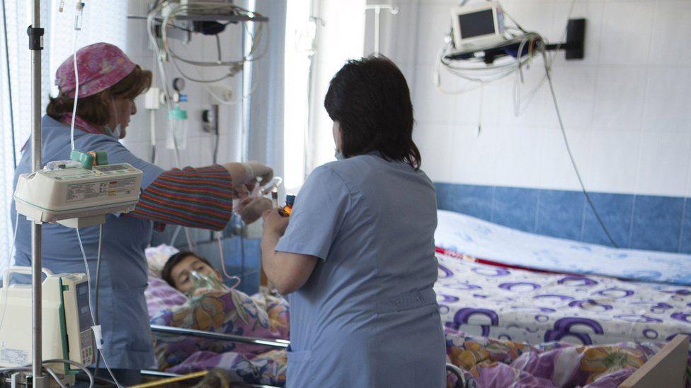 Armenian boy in a Stepanakert hospital, 4 Apr 16