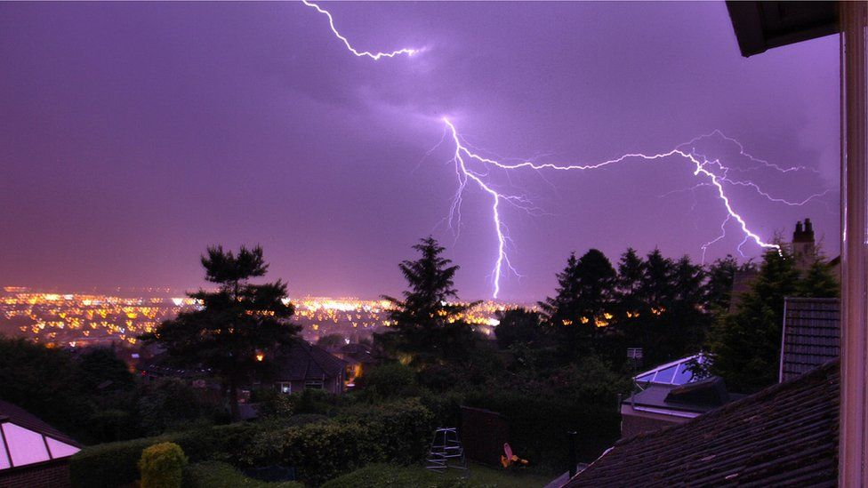 Lightning strike across South Gyle area as seen from Corstorphine Hill