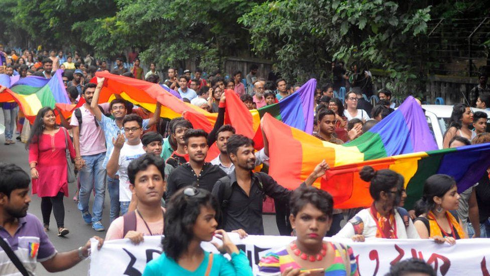 Celebration marches were held in India after gay sex was decriminalised in 2018