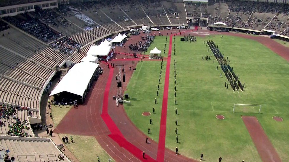 Zimbabwe national stadium while Jerry Rawlings spoke at Robert Mugabe's funeral