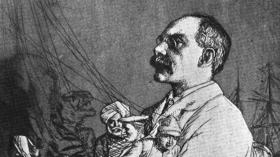 Kipling drawn as a cartoon with his characters