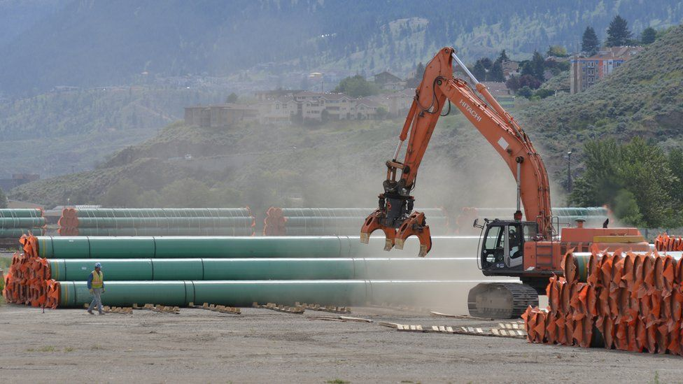 Steel pipe to be used for the Trans Mountain Expansion Project at a stockpile site in British Columbia.