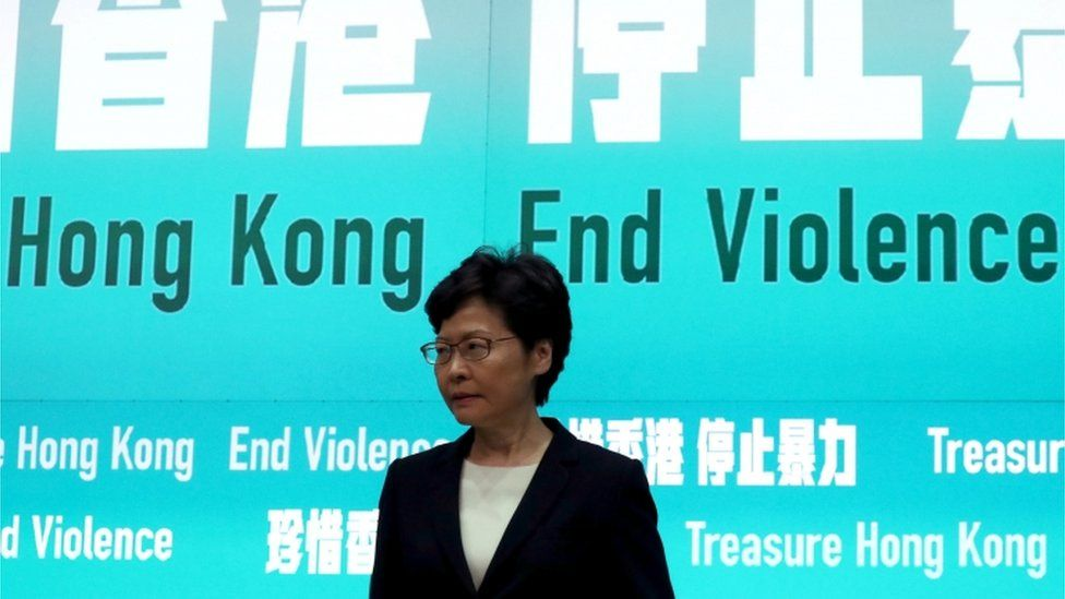 Carrie Lam announces the ban on face masks on Friday 4 October 2019