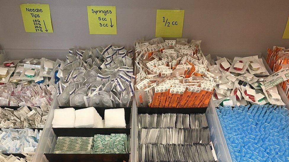 Supplies at a new supervised injection site located in Surrey, BC