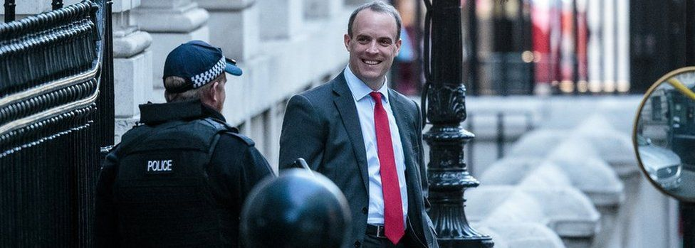 Brexit Secretary Dominic Raab leaves the Department for Exiting the European Union on October 22, 2018 in London