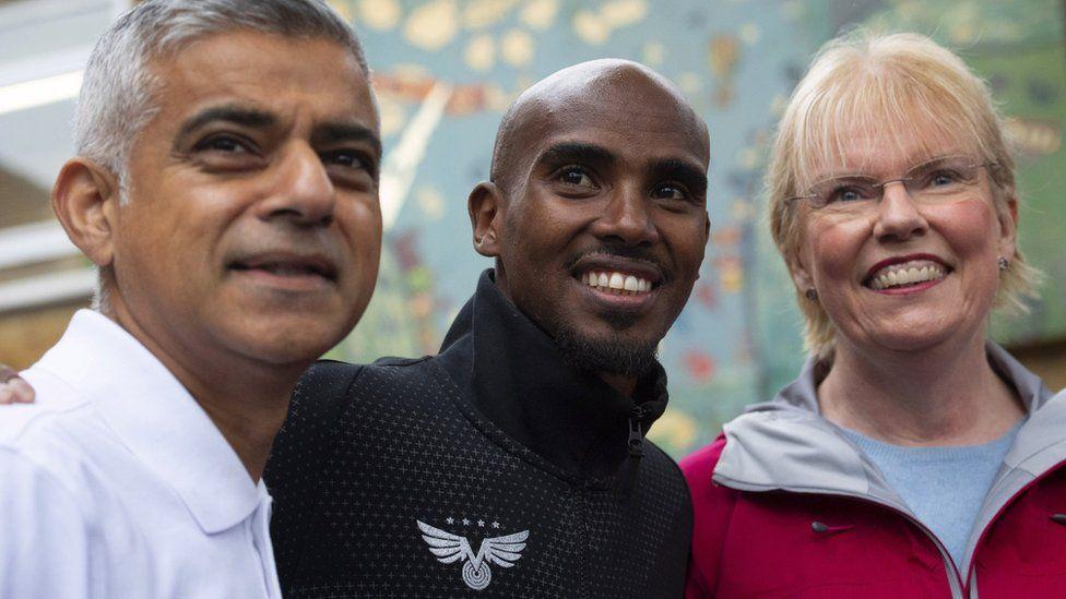 Elaine Wyllie pictured with London Mayor Sadiq Khan and athlete Mo Farah