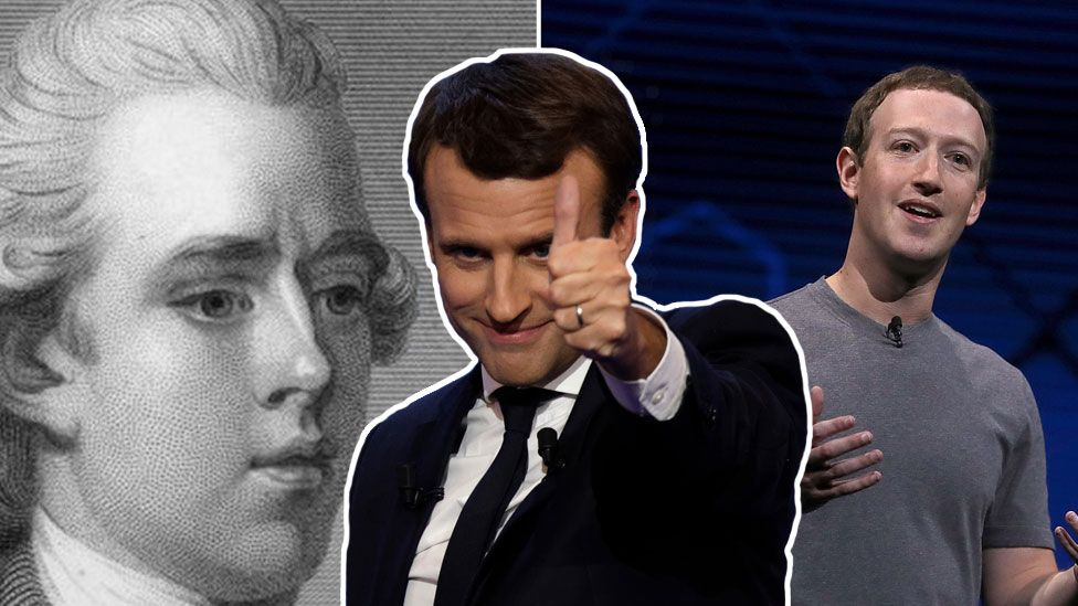 A three-part composite showing Pitt the Younger, Emmanuel Macron, and Mark Zuckeberg