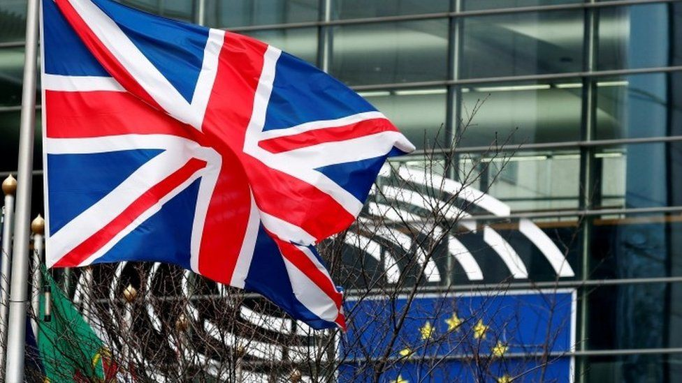 Union Jack flag outside European Parliament in Brussels