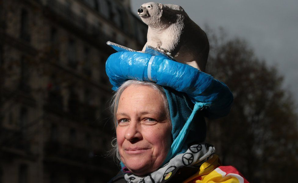 A protester from Germany wears a head dress featuring a polar bear during a climate change rally on November 29, 2015 in Paris