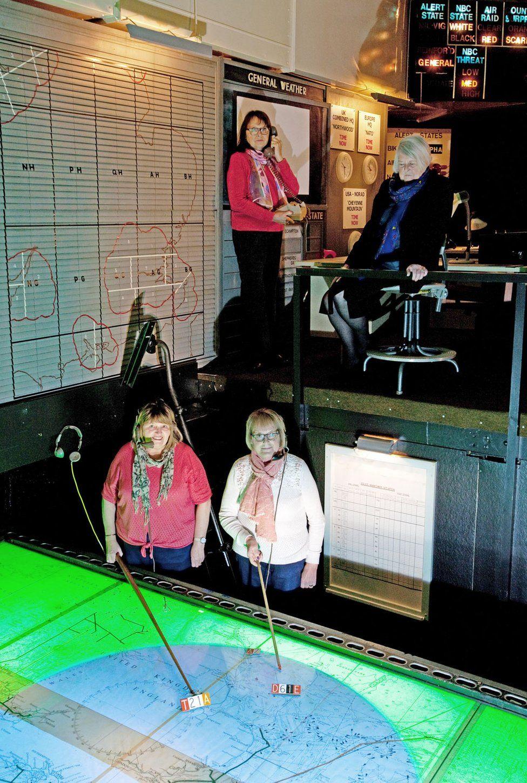 Janet Huitt, Eileen Mann, Janet Levesley, Barbara Turner in the radar operations room at Holmpton Cold War bunker
