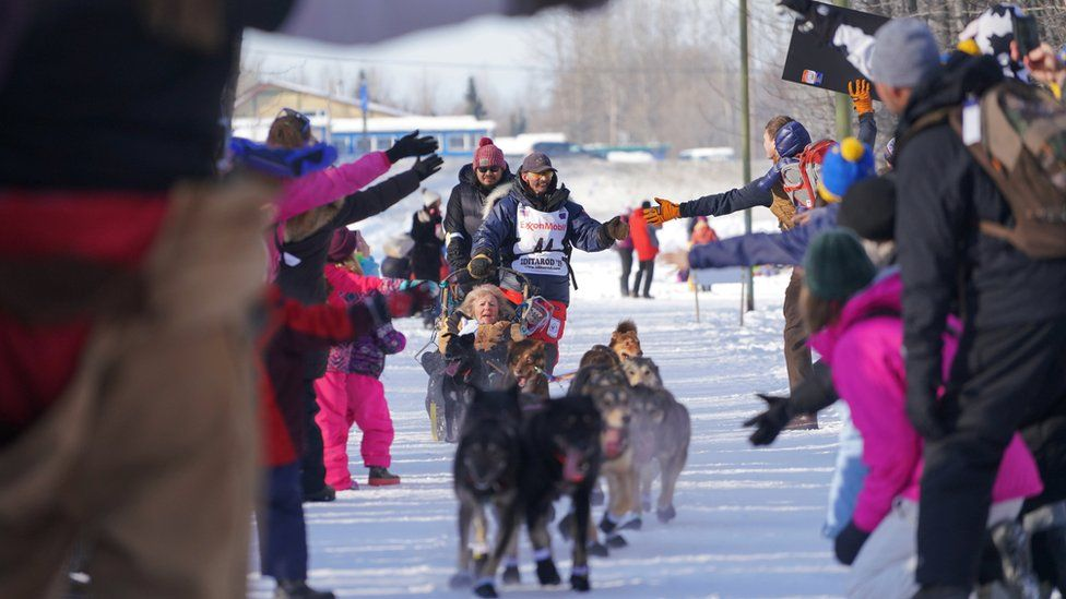 Alaska dog sled race: Crowds gather before Iditarod race