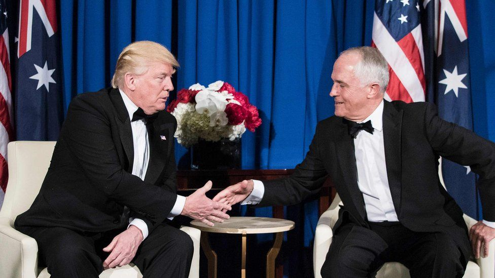 US President Donald Trump (L) and Australian Prime Minister Malcolm Turnbull shake hands before a meeting on board the Intrepid Sea, Air and Space Museum May 4, 2017 in New York, New York.