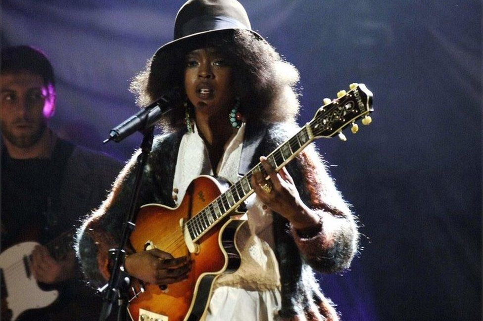 Lauryn Hill performing at the MOBOs