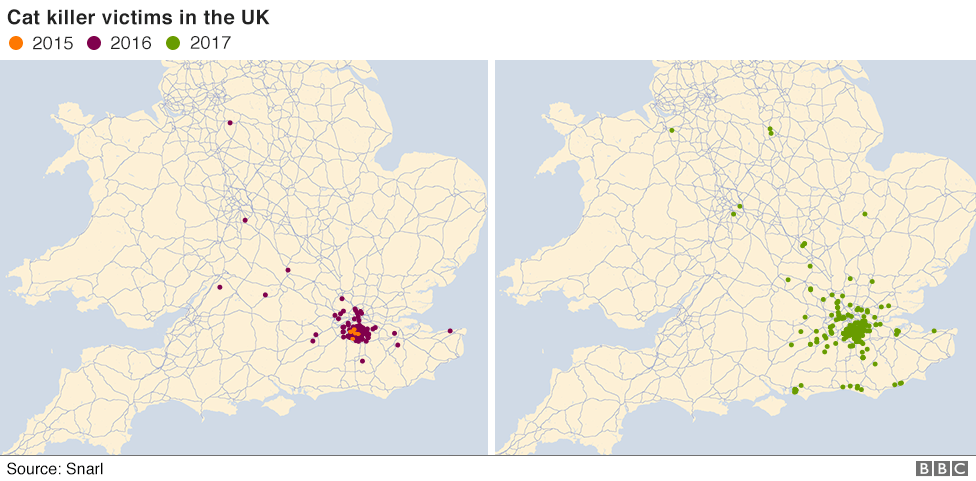 map of cat killings across UK