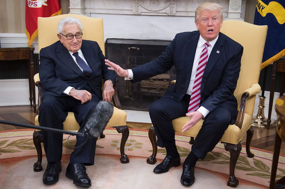 Henry Kissinger and Donald Trump in the Oval Office in May 2017
