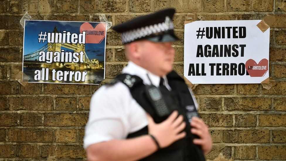 """Policemen in front of """"united against all terror"""" posters"""