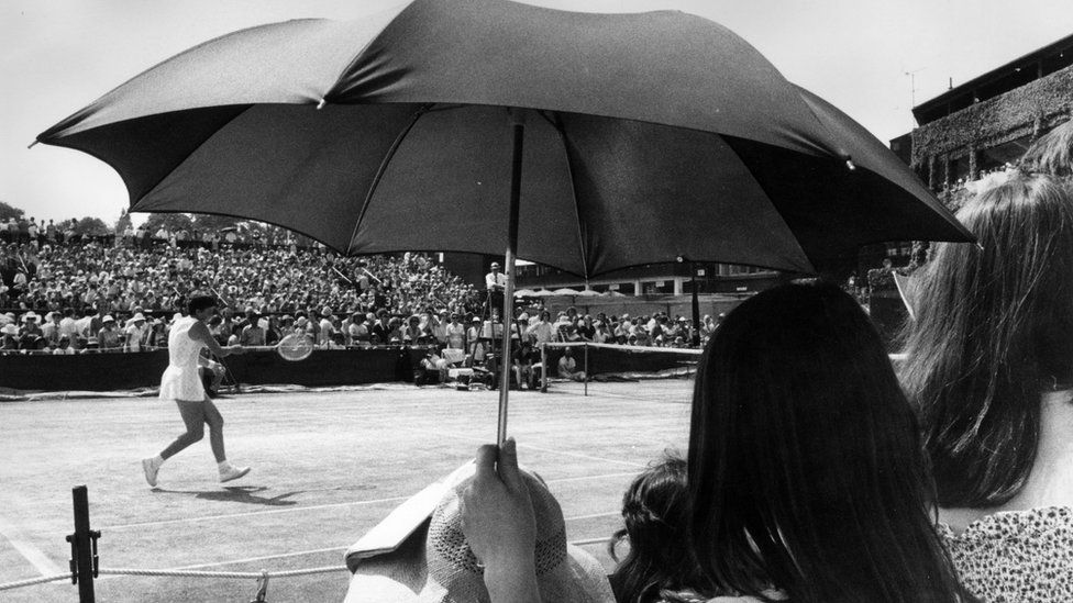 A spectator at the Wimbledon Lawn Tennis Championships
