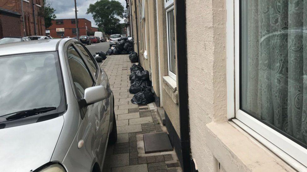 Bin bags on Avon Street