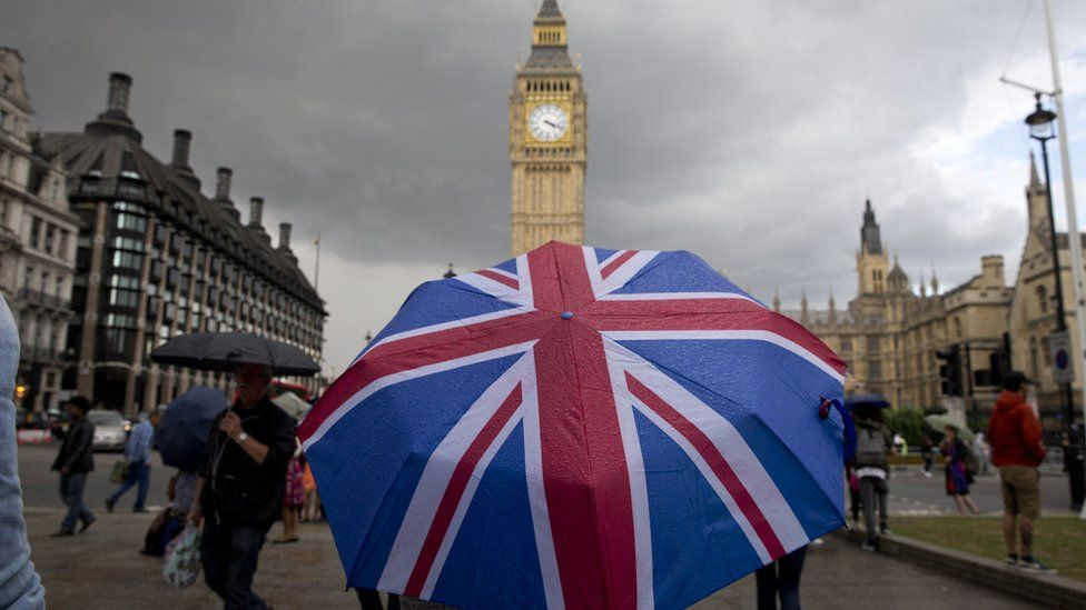 Union Jack umbrella outside Parliament