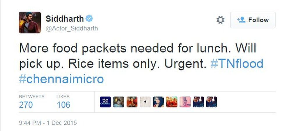 More food packets needed for lunch. Will pick up. Rice items only. Urgent. #TNflood #chennaimicro