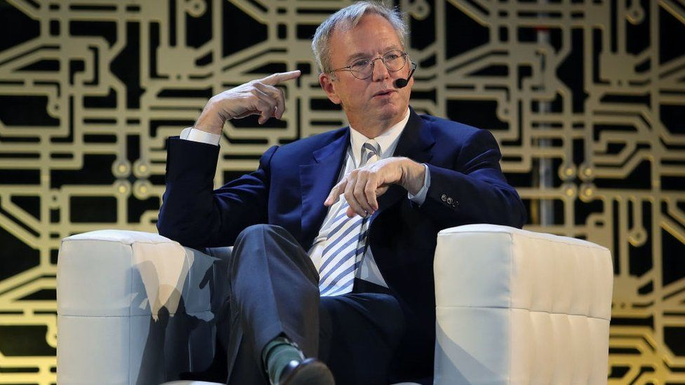 Executive Chairman of Alphabet, Inc. Eric Schmidt is interviewed at the Inclusive Innovation Challenge Celebration event at HUBweek in Boston on Oct. 12, 2017.