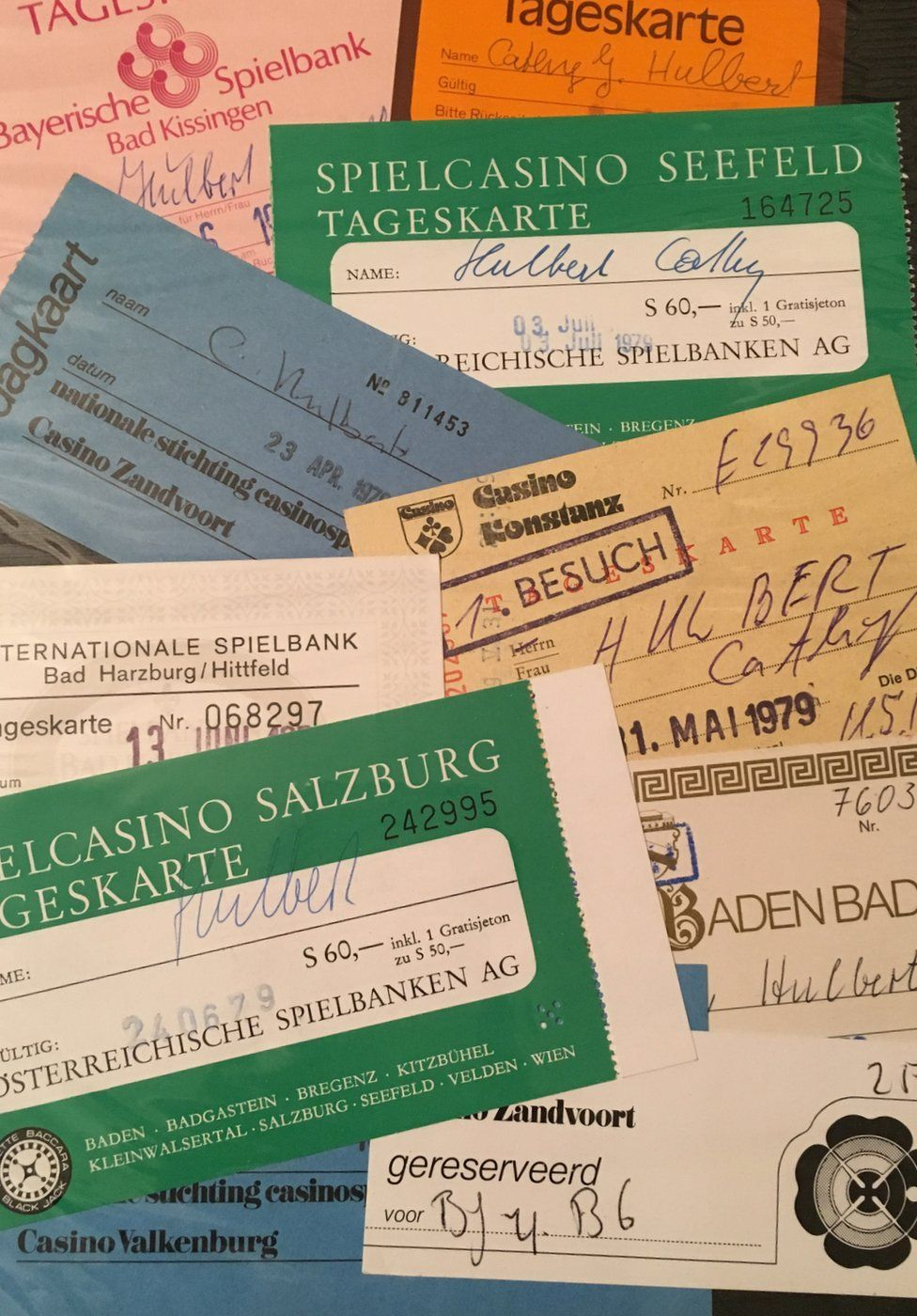 Ticket stubs to European casinos