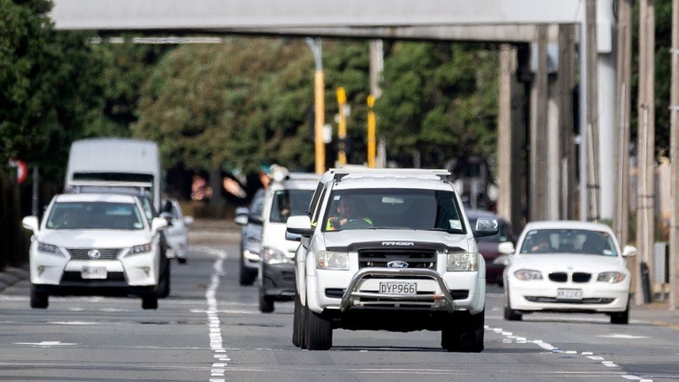 Motorists commute on a road in Wellington on May 14, 2020.