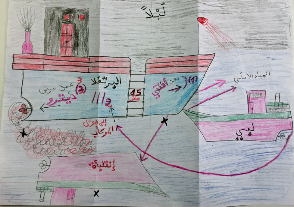 Mohammed Ali Malek's drawing of how the collision happened