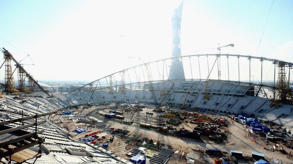 Construction on the Khalifa International Stadium in Doha ahead of the 2022 World Cup