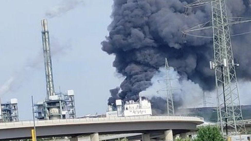 Large plumes of black smoke is seen at the site