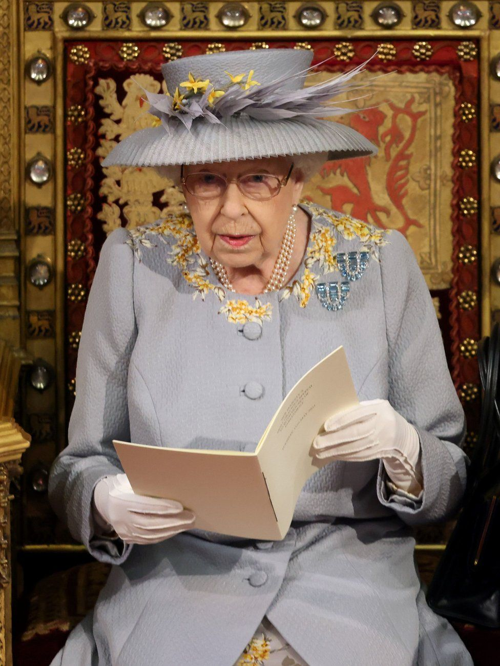 Queen Elizabeth II delivers a speech from the throne in House of Lords at the Palace of Westminster in London