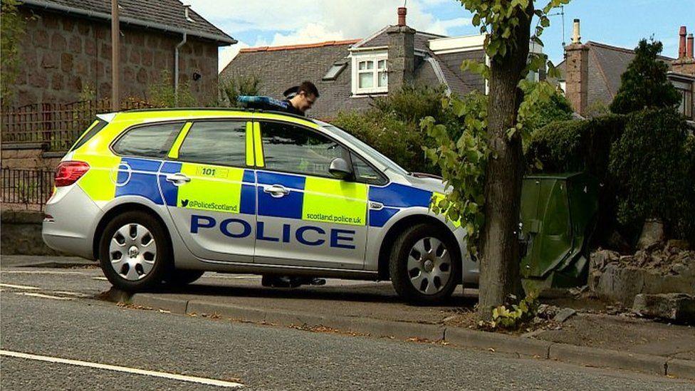 Police car crashed