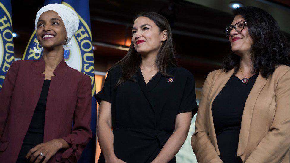 Reps Ilhan Omar, Alexandria Ocasio-Cortez, and Rashida Tlaib at a press conference