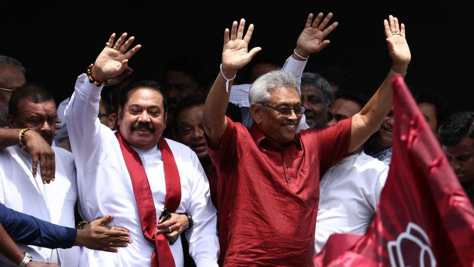 Elder brother and former president Mahinda (left) was a big part of Gotabhaya's election campaigning