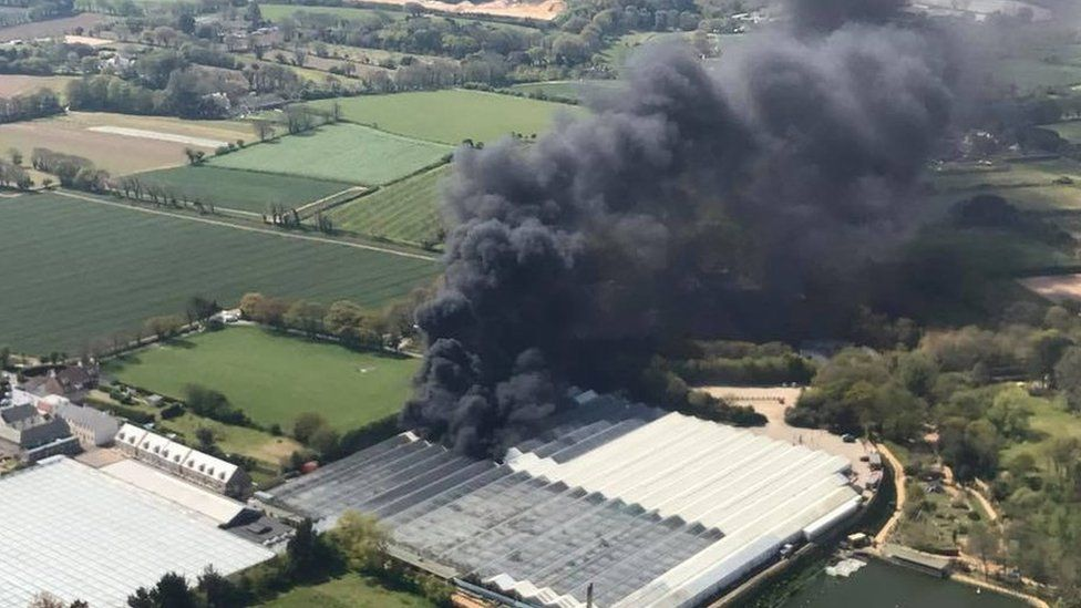 Tamba Park from the air with billowing smoke