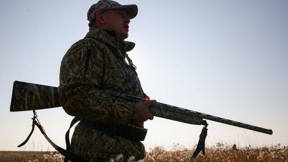 A Russian hunter with shotgun (file pic)