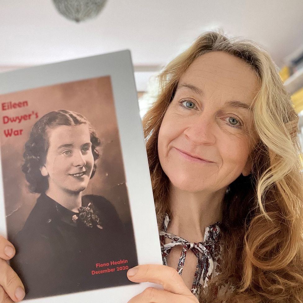 Fiona Heakin with the book she made from her mum's war diaries