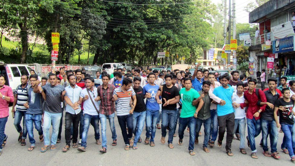 Students formed a human chain on one of Sylhet's roads in protest
