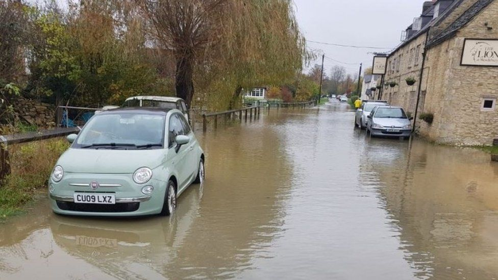 A flooded road in Wendlebury, Oxfordshire