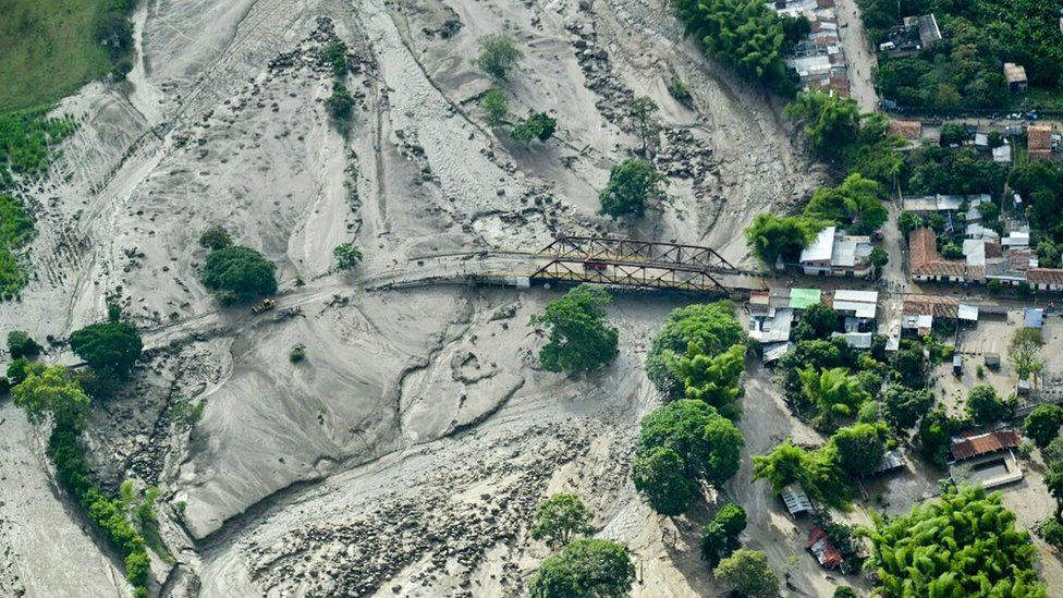 Image shows an aerial view of the mudslide