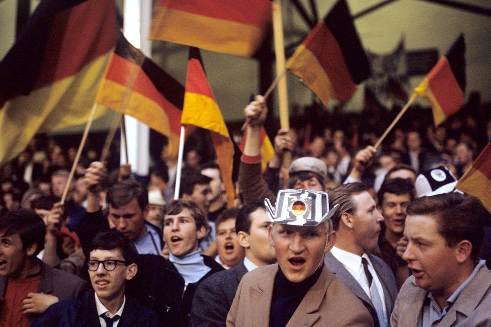 West Germany fans at the 2-1 semi final win over the USSR at Goodison Park